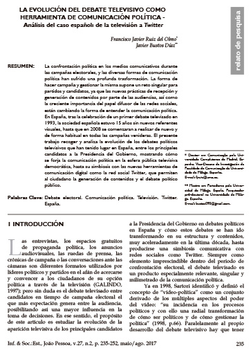 La evolución del debate televisivo como herramienta de comunicación política. Análisis del caso español: de la televisión a Twitter. Informaçao & Sociedade: Estudos, 27, pp. 235 a 252.