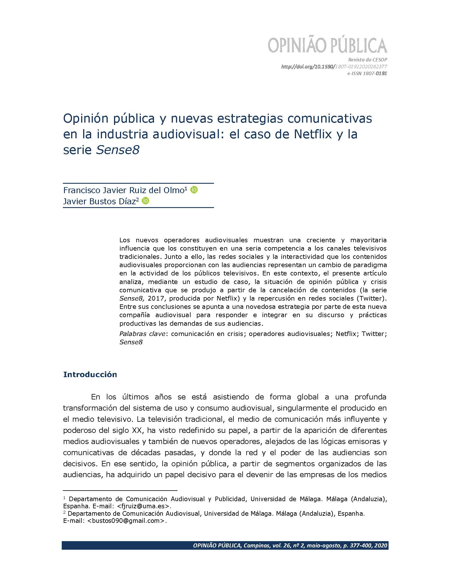 Opinión pública y nuevas estrategias comunicativas en la industria audiovisual el caso de Netflix y la serie Sense8